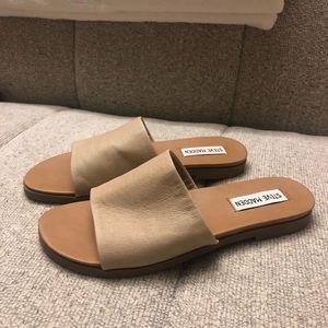 Nude slip on sandals